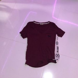 Maroon v line shirt from pink